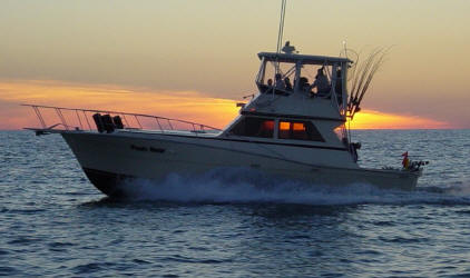 Lake Erie walleye charter fishing boat on Lake Erie